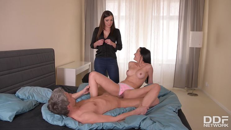 Enticing Bedroom Activity: Anal Threesome With Two Hot Babes