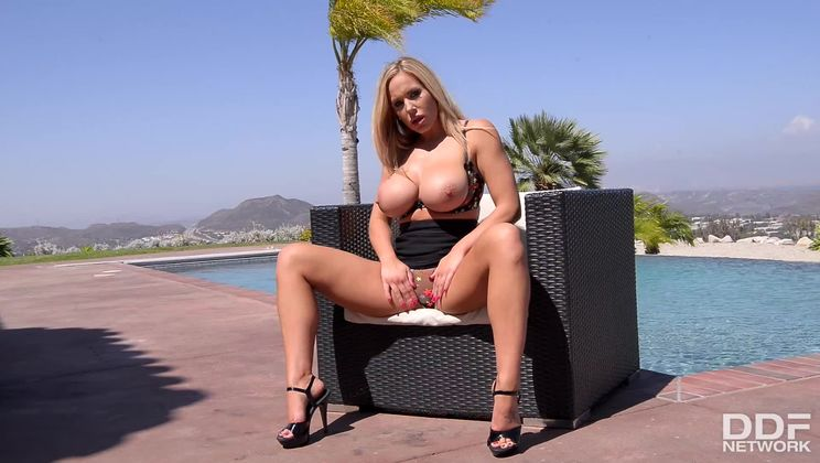 Sunny Sexual Satisfaction: Busty Blonde Masturbates By The Pool