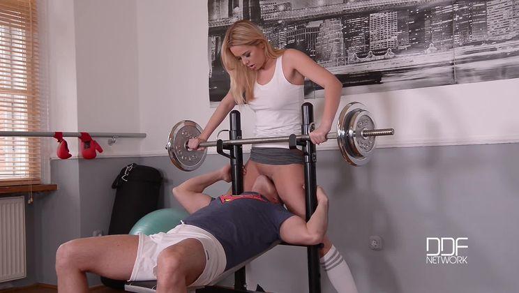 Missing Panties - A Horny Blonde's Juicy Gym Blowjob